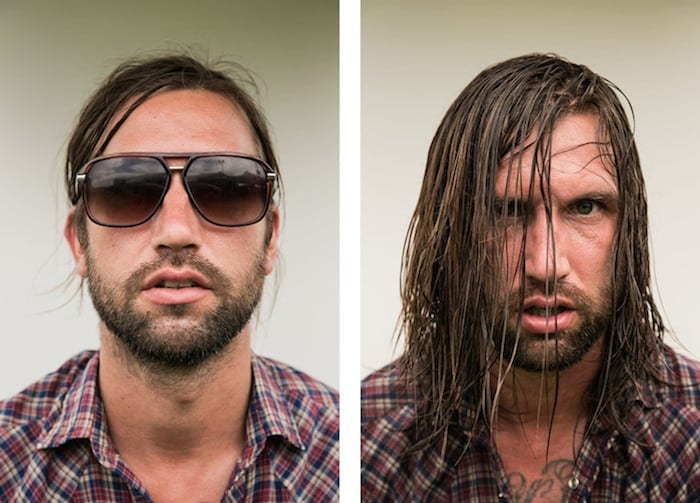 Rock Musicians before and after their Performances -photo, before and after