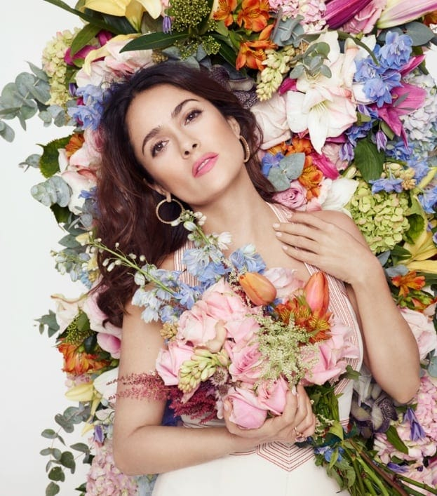 Salma Hayek Poses with Flowers for L'Officiel Paris Story -photo session, celebrities