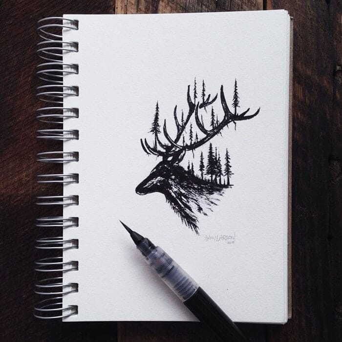Miniature Illustrations Of Wild Animals Blended With Landscapes -Instagram art, drawings, black and white