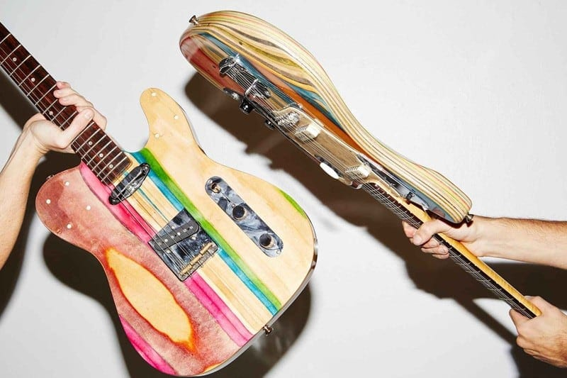 Student Takes Used Skateboard Decks And Turns Into Guitars -skateboards