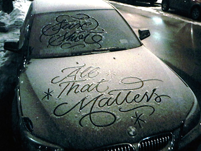 Typography: Snow Script by Faust New York -snow, new york, cars