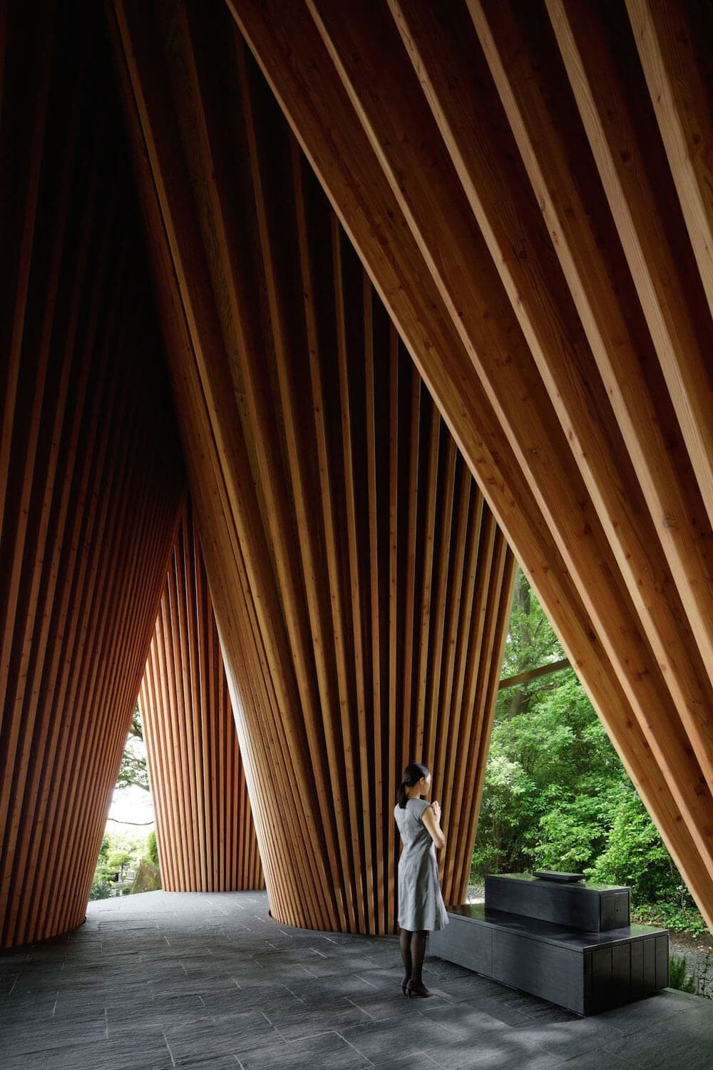 solemn sayama forest chapel 5 - This Solemn Forest Chapel in Japan Mimics Two Hands Clasped in Prayer