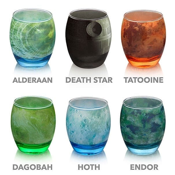 Star Wars Planetary Glassware Set With The Famous Planets -Star Wars, fans