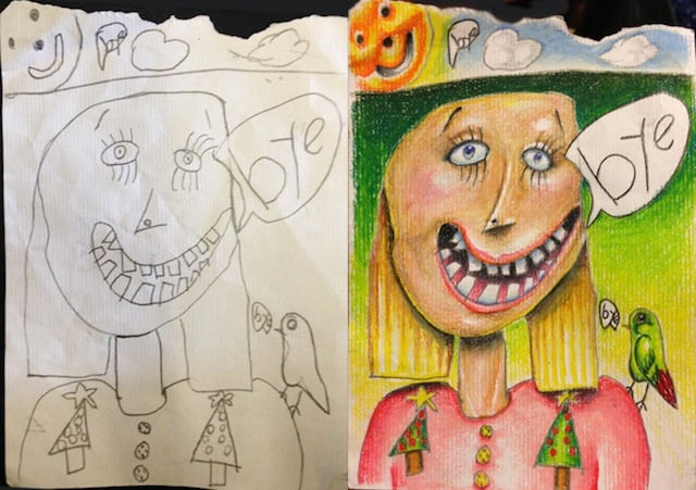 Creative Father Colors His Kids Drawings
