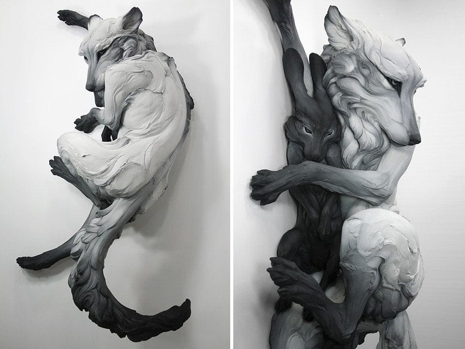 Dynamic Animal Sculptures Represent Darkest Human Emotions -Video, statue, sculpture, nature, ceramics, animals