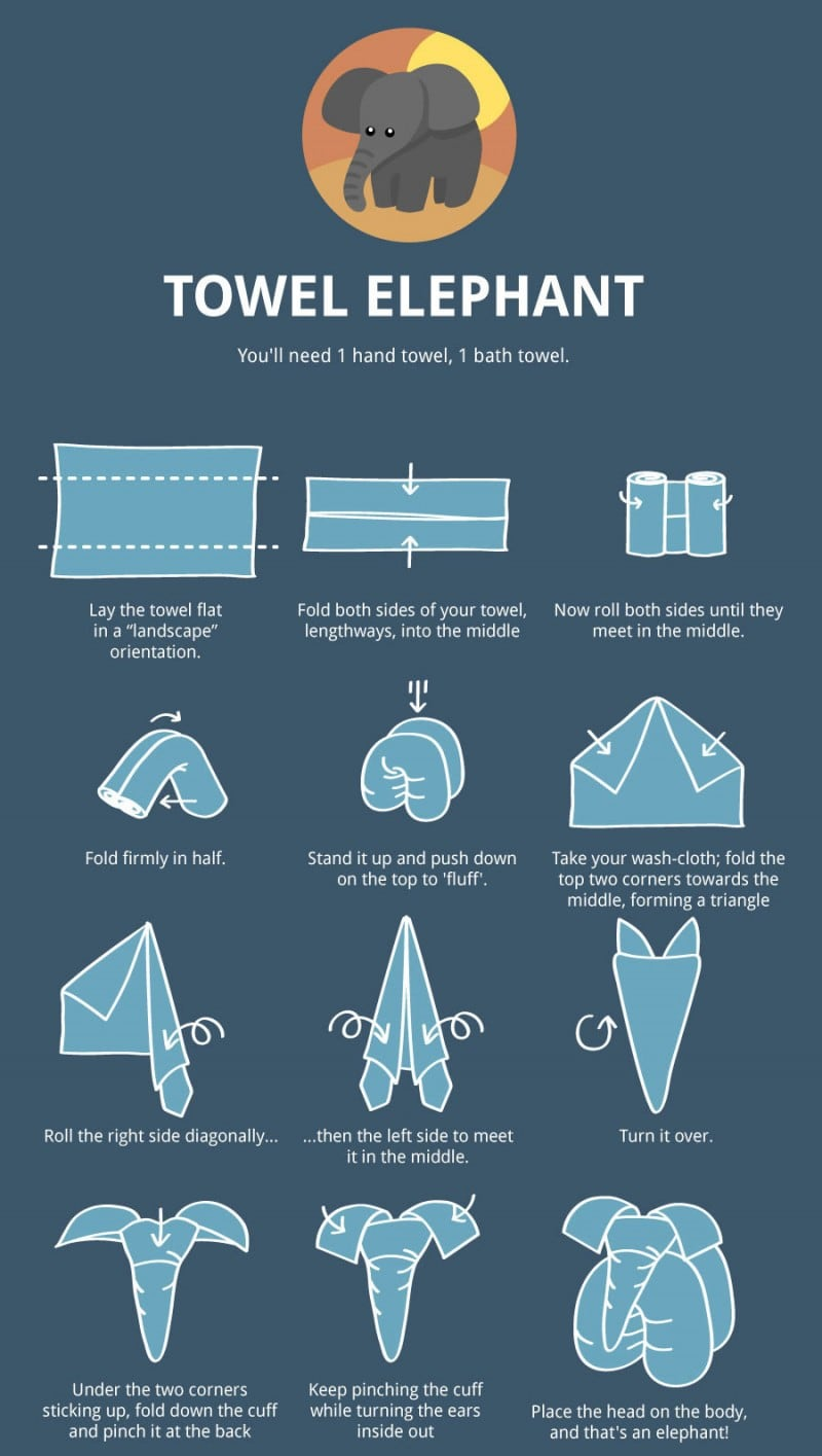 The Ultimate Towel Folding Guide -origami, infographics, Craft, animals