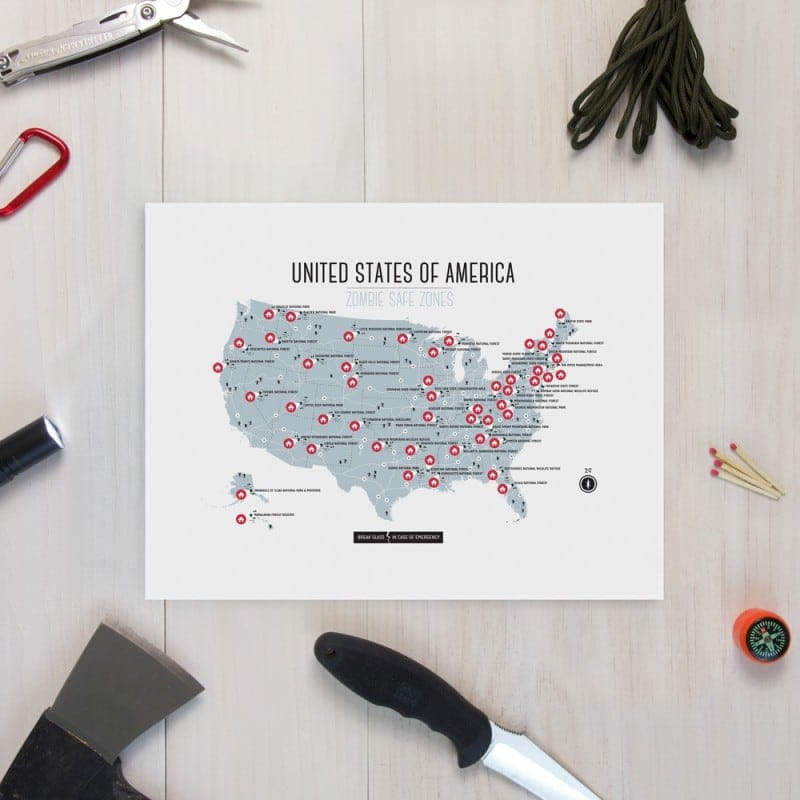 USA Zombie Safe Zone Map -zombies, zombie, Walking Dead, prints, poster, graphic design