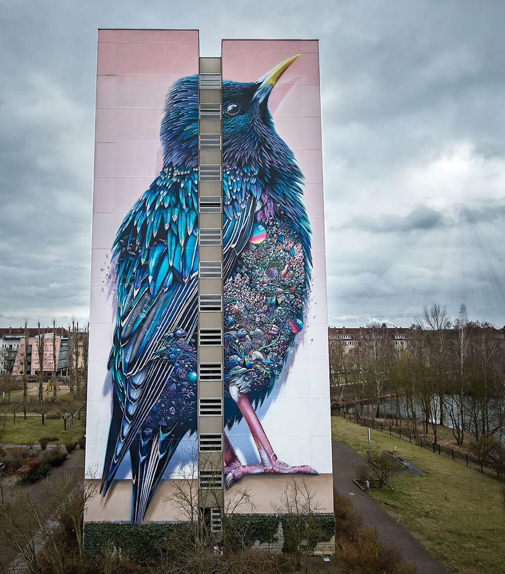 Huge Mural in Berlin by Collin van der Sluijs and Super A -murals, birds