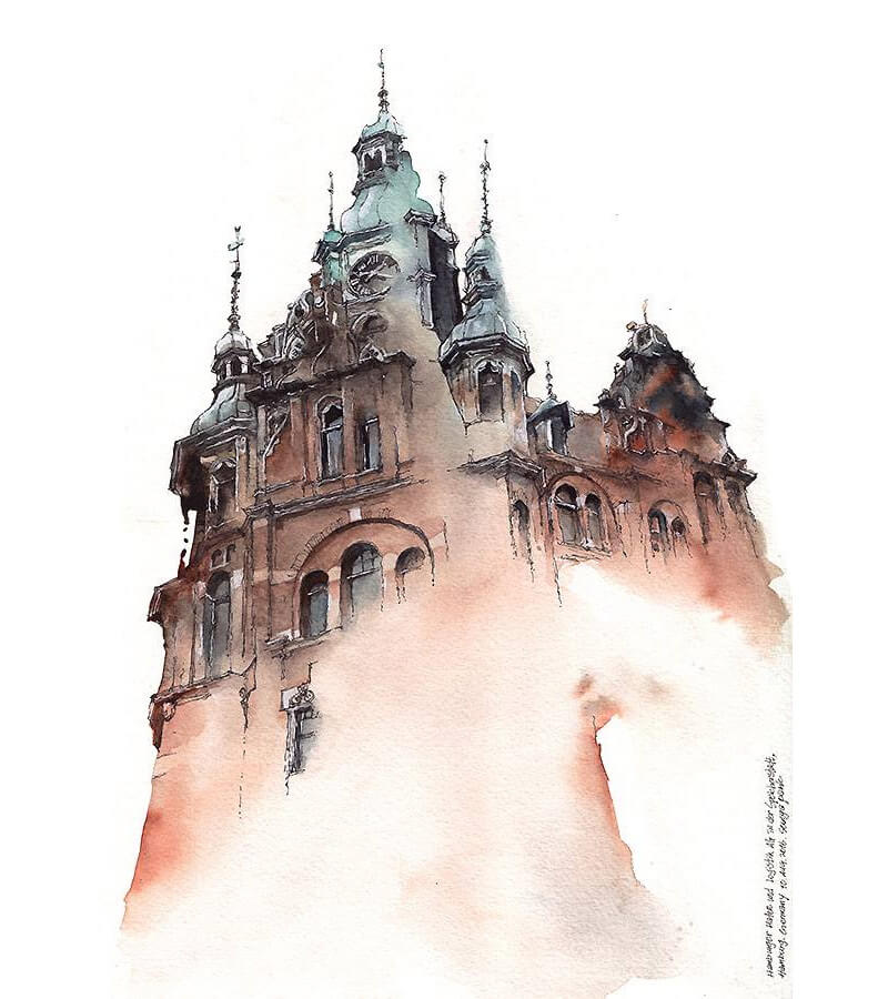 Watercolor Architectural Landmarks by Artist Sunga Park -watercolor, architecture