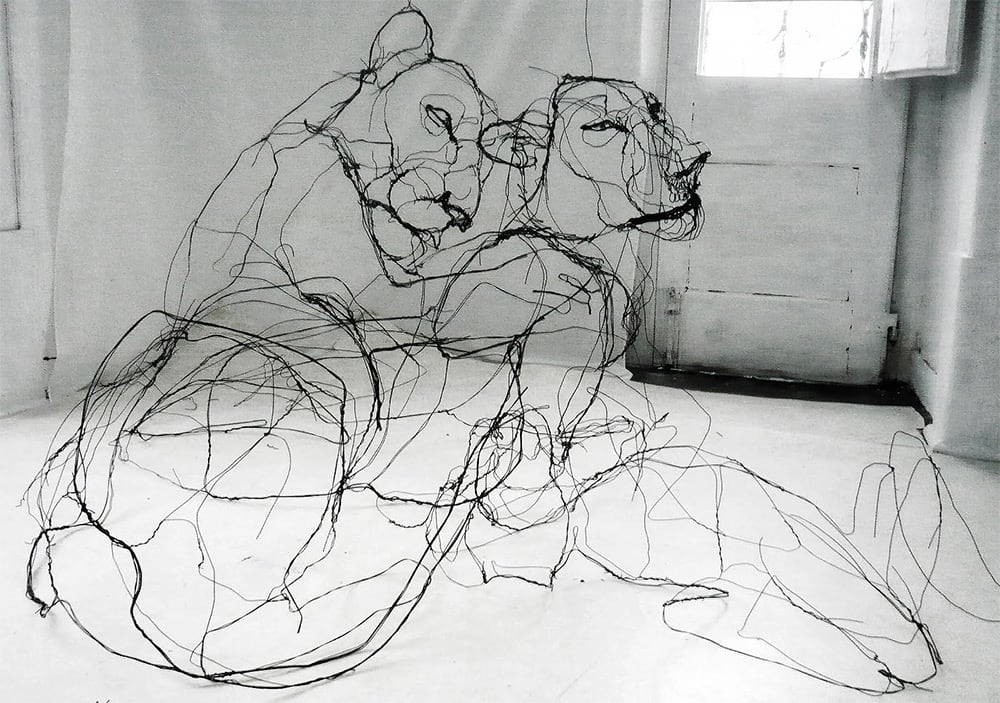 Wire Animal Sculptures that Look Like Pencil Drawings -wire, sculpture, animals