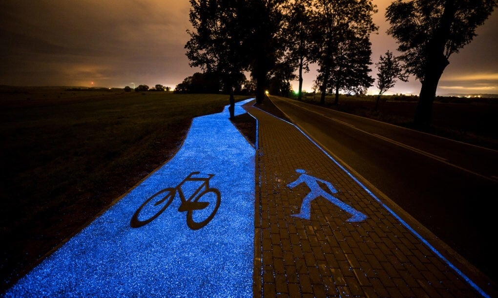 Glow-in-the-Dark Bike Path Unveiled in Poland -poland, bicycles