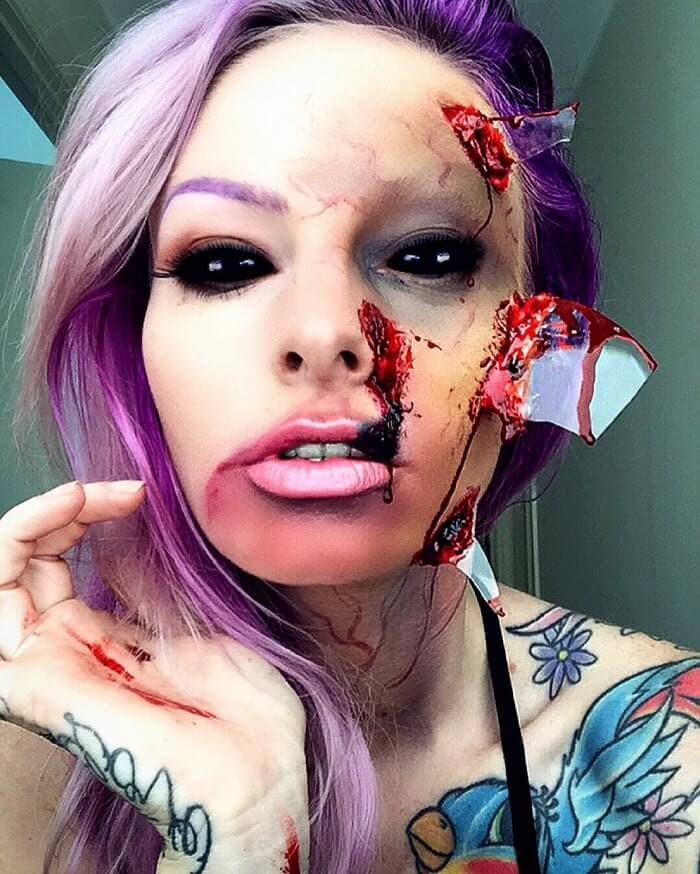 Artist Uses Makeup To Transform Herself Into 15 Scary Monsters -makeup, body art