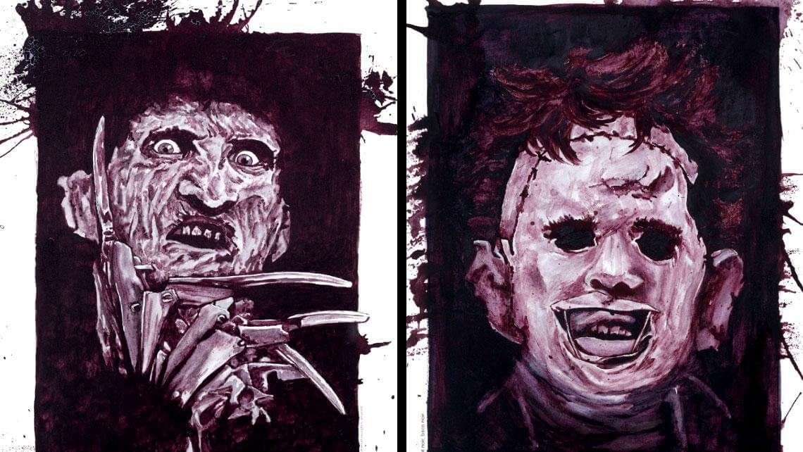 Terrifying Horror Portraits Painted with Wine by Melissa Proudlock -wine, portraits, horror
