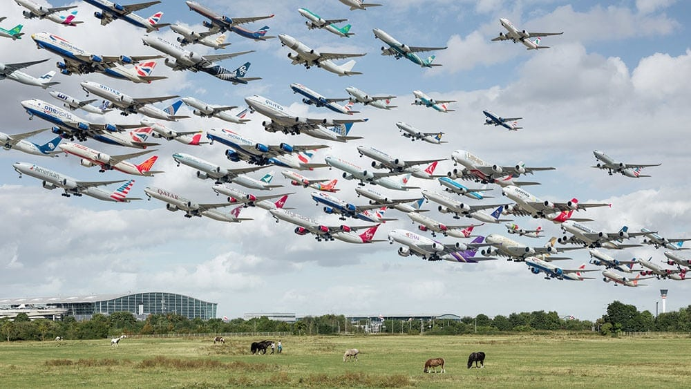 Composite Flight Photos Capture Planes from Worldwide Airports -multiples