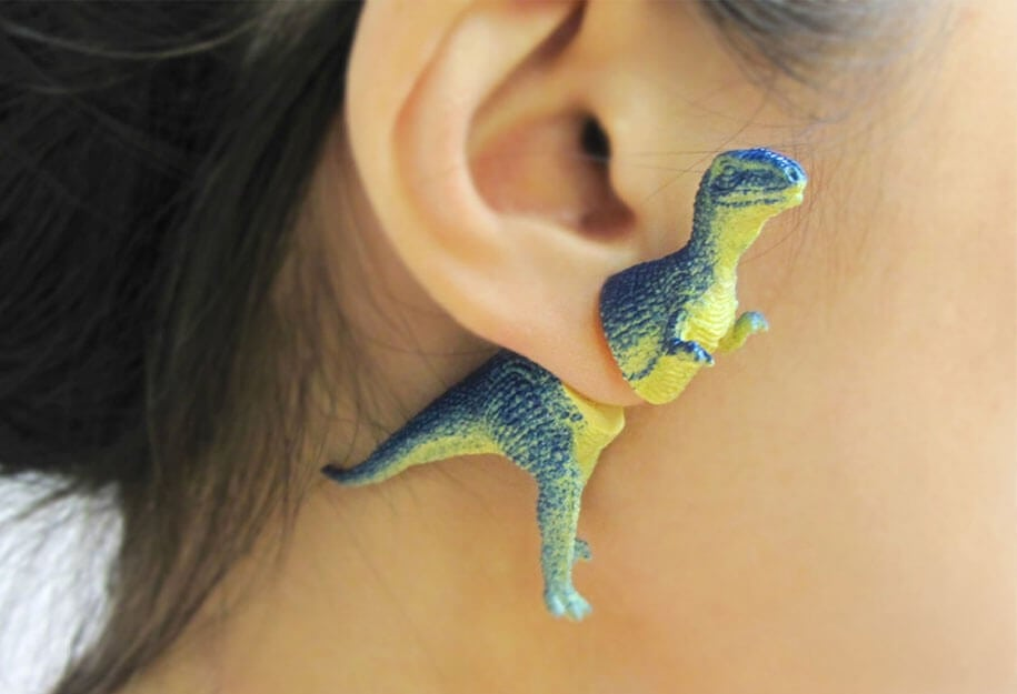 Clever Dinosaur Earrings by OOOWORKSHOP -