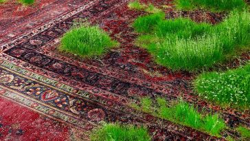 A Temporary Lawn Planted Amongst a Patchwork of Persian Rugs -rugs, installation
