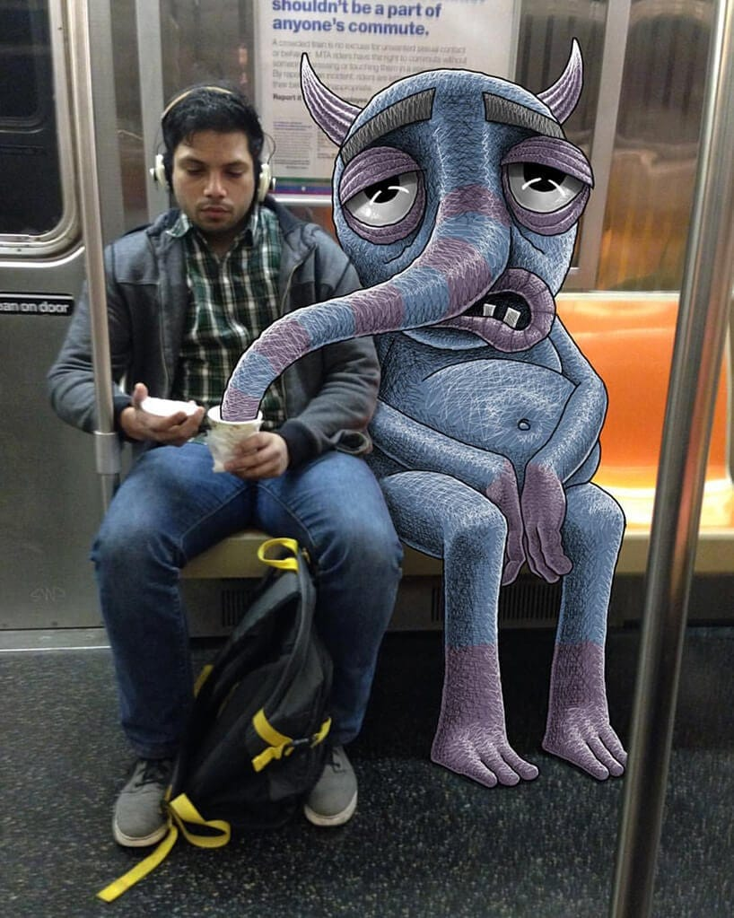 Artist Doodles Monsters Next to Unsuspecting Subway Riders -subway, NYC, gotrend, doodle