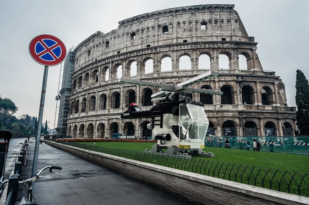 This Artist Brought Huge LEGO Vehicles To the Ancient Streets of Rome -lego