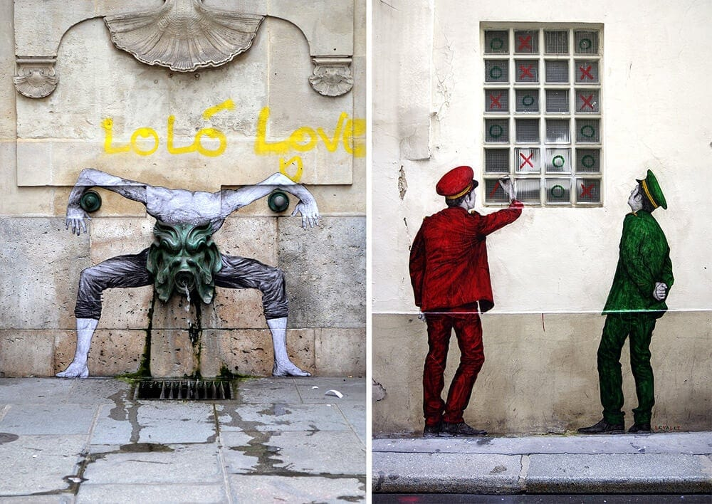 Quirky Site-Specific Wheatpastes Playfully Interact with the Streets of Paris -street art