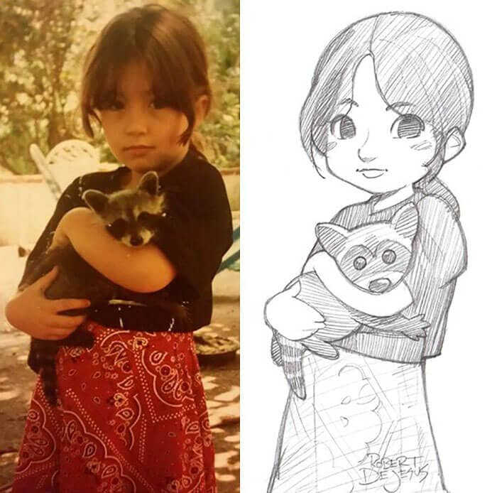 An Artist Transforms People And Their Pets Into Anime Characters -