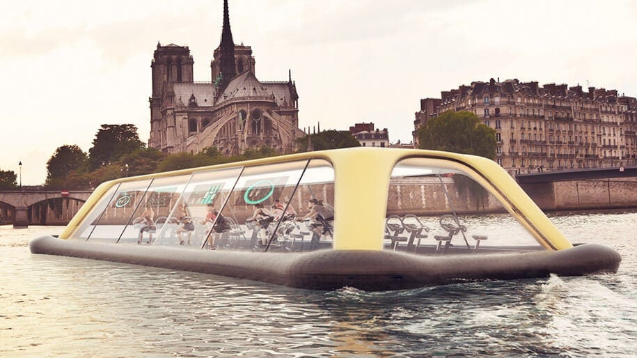Drifting Gym In Paris Powered By Its Visitors -paris, gym, france, boat
