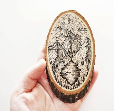 Spectacular Illustrations on Wood Slices by Meni Chatzipanagiotou -wood, painting