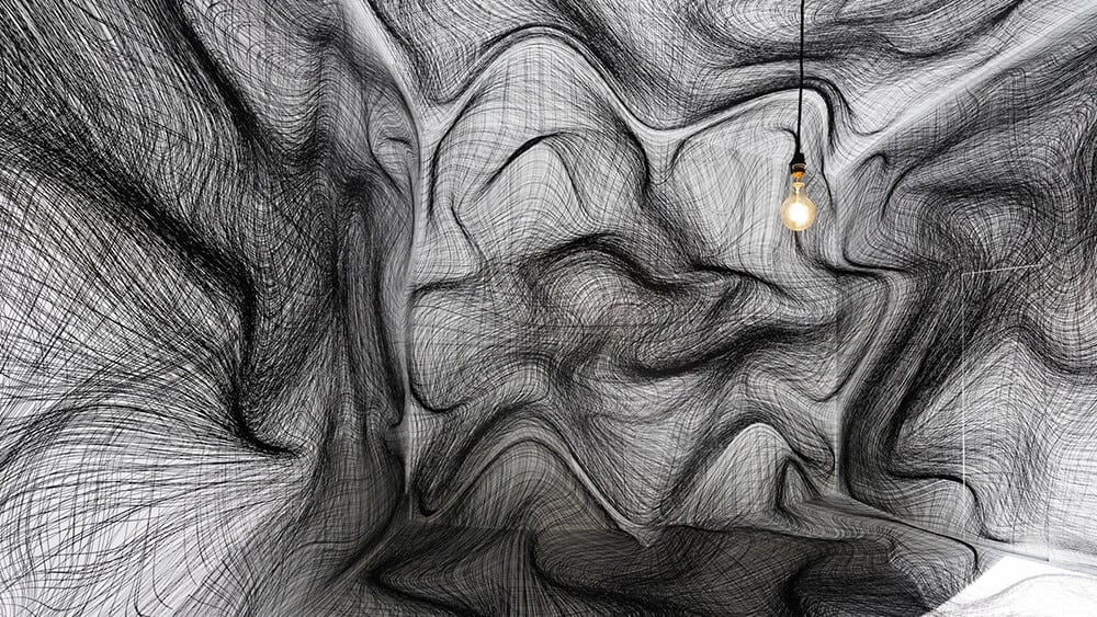 Dizzying Room Illusions by Peter Kogler -optical illusion, installation