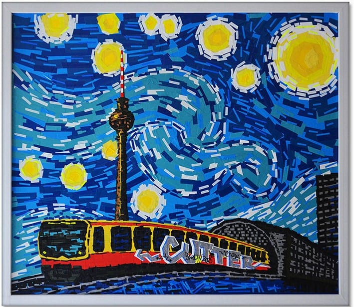 berlin starrynight ostap vangogh tapeart 2014 - TAPE ART - Art made out of sticky tape by Ostap & SELFMADECREW