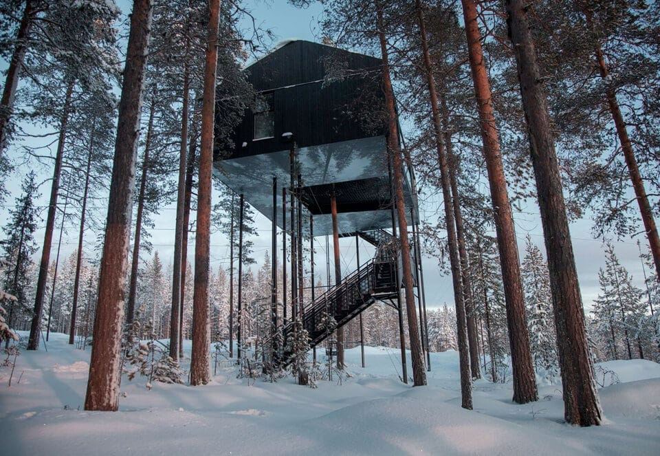 Witness the Aurora Borealis From Snøhetta's Swedish Treetop Hut -
