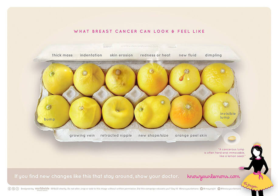 what breast cancer look feel like lemons 1s - Life-Saving Illustrations Uses Lemons to Show Different Signs of Breast Cancer
