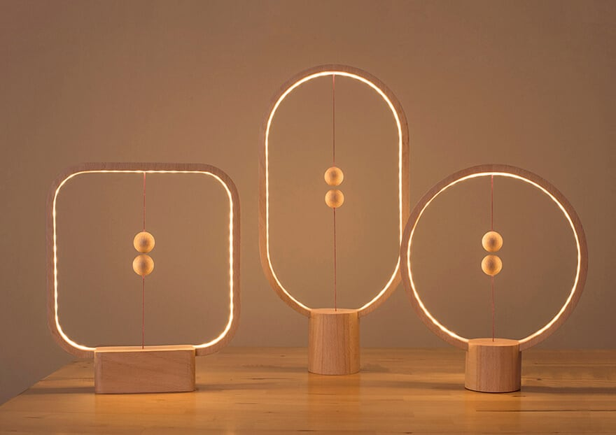 Wooden Lamp With Suspended in the Air Switch -