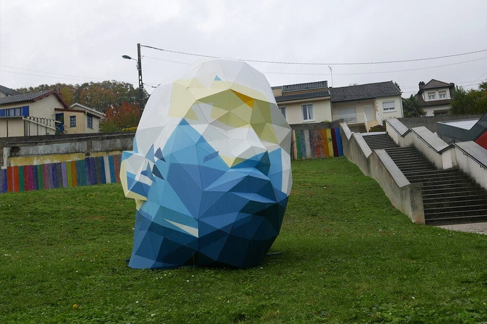 Artist Places Giant Geometric Sculptures In Public Places -street art, sculpture