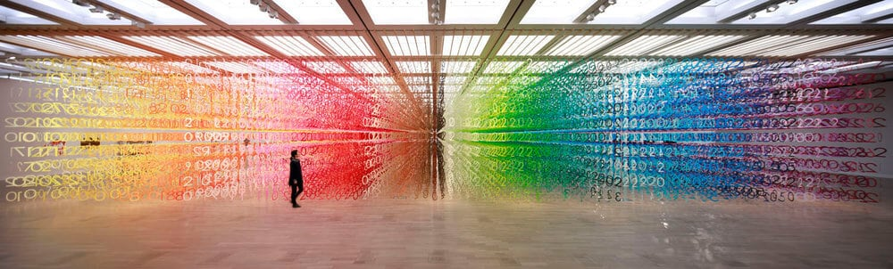 A Mesmeric Forest of 60,000 Rainbow Numbers by Emmanuelle Moureaux -installation