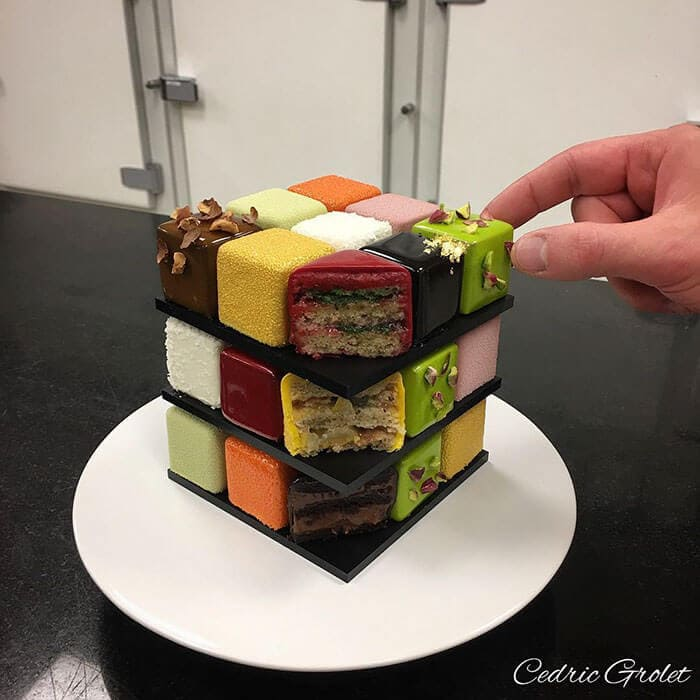 rubiks cube cake pastry cedric grolet 11 - Geometric Cakes Created By One Of The Best Pastry Chefs In Europe