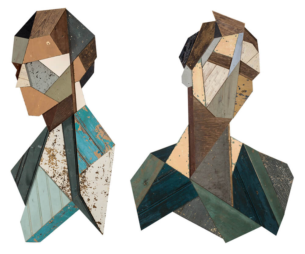 Geometric Wooden Portraits by 'Strook' -