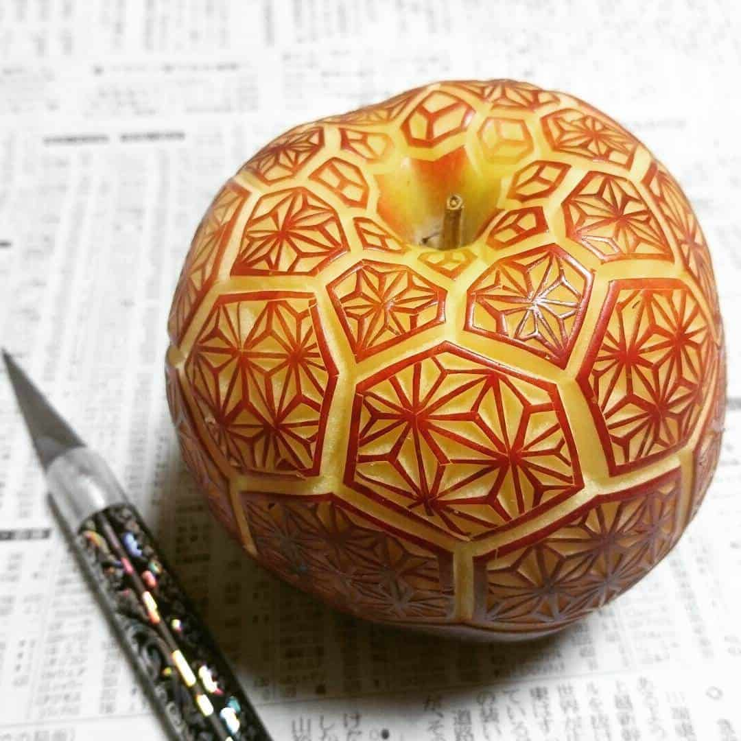 Complex Patterns Carved on Vegetables by 'Gaku' -