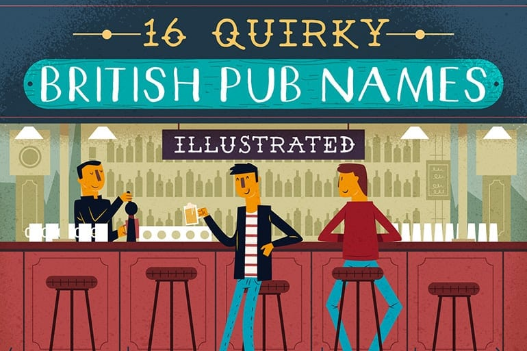 Strange British Pub Names Illustrated To Match Their Literal Meaning -infographic
