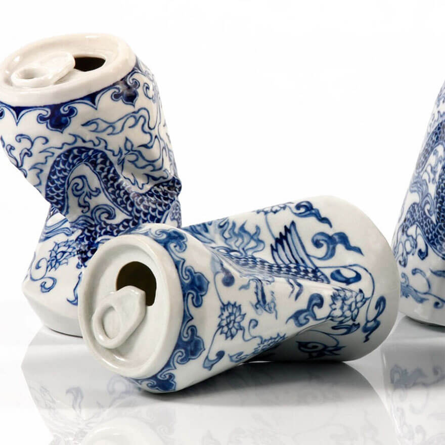 Smashed Soda Cans Made Of Ming Dynasty-Style Porcelain By Chinese artist Lei Xue -sculpture, porcelain, china