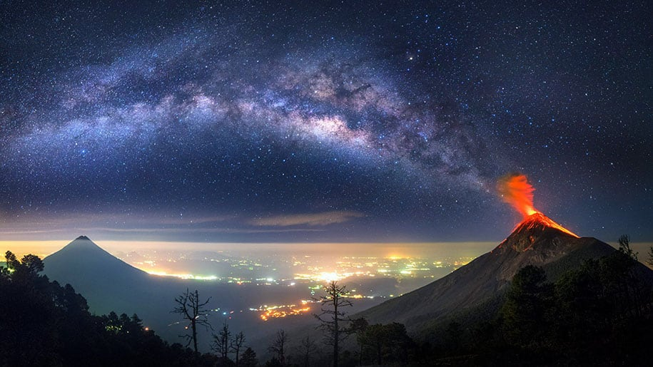 Amazing Shots Show Erupting Volcano That Is Apparently Spewing Ashes To The Milky Way -
