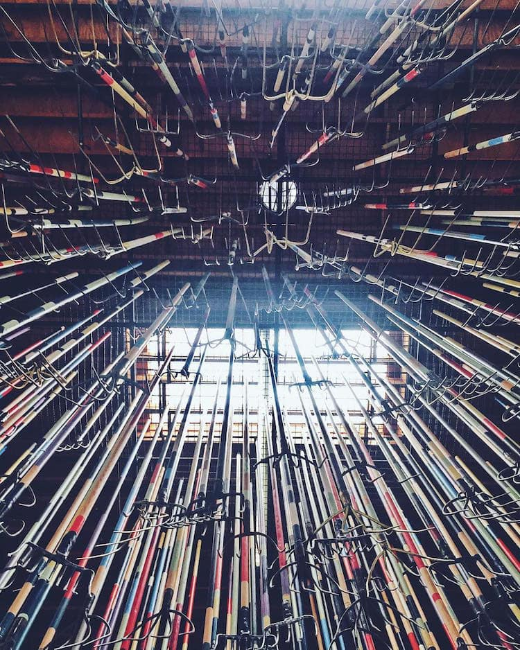 pitchfork installation simon birch 5 - Artist Dares Visitors to Stand Under Pointy Pitchforks Swinging from the Ceiling
