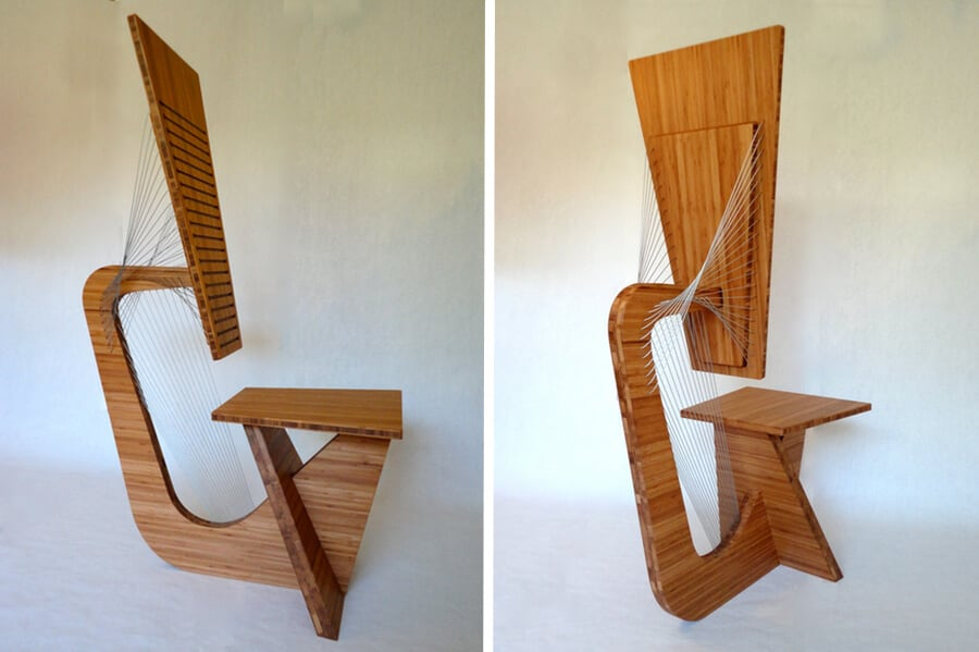 tensegrity furniture. designer builds furniture using only forces of tension no nails at all tensegrity