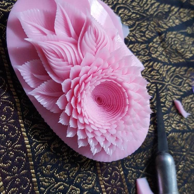 Traditional Thai Artist Carves Meticulously Detailed Carvings Out of Soap -