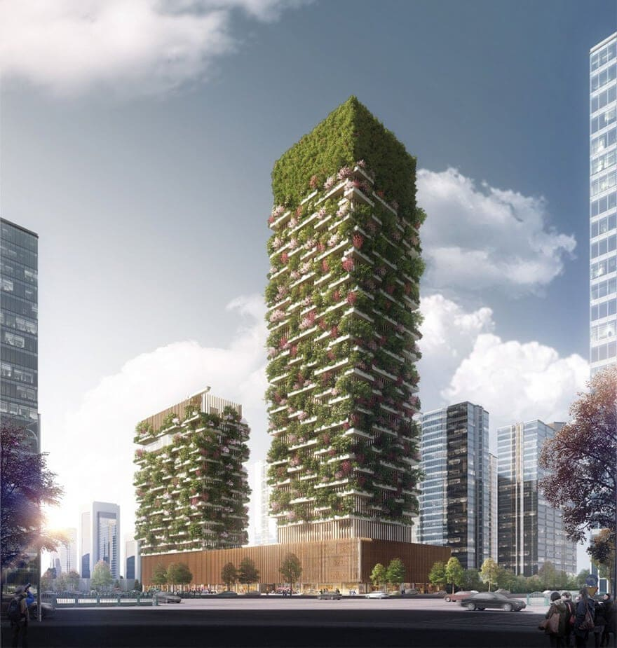 vertical forest stefano boeri china architecture 1 - China's First Vertical Forest will be Covered in Over 3,000 Plants