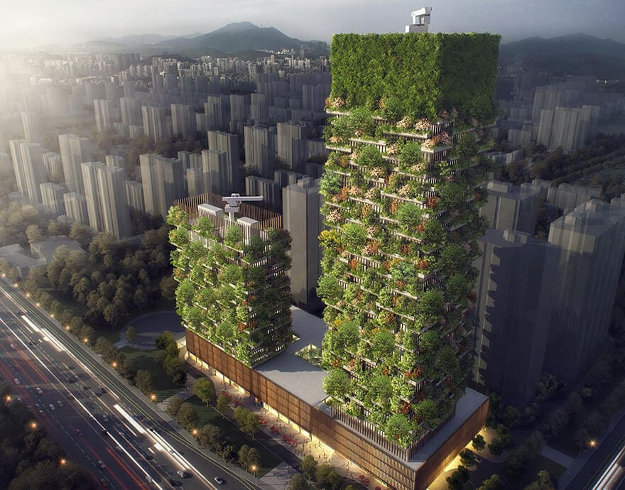 vertical forest stefano boeri china architecture 3 - China's First Vertical Forest will be Covered in Over 3,000 Plants