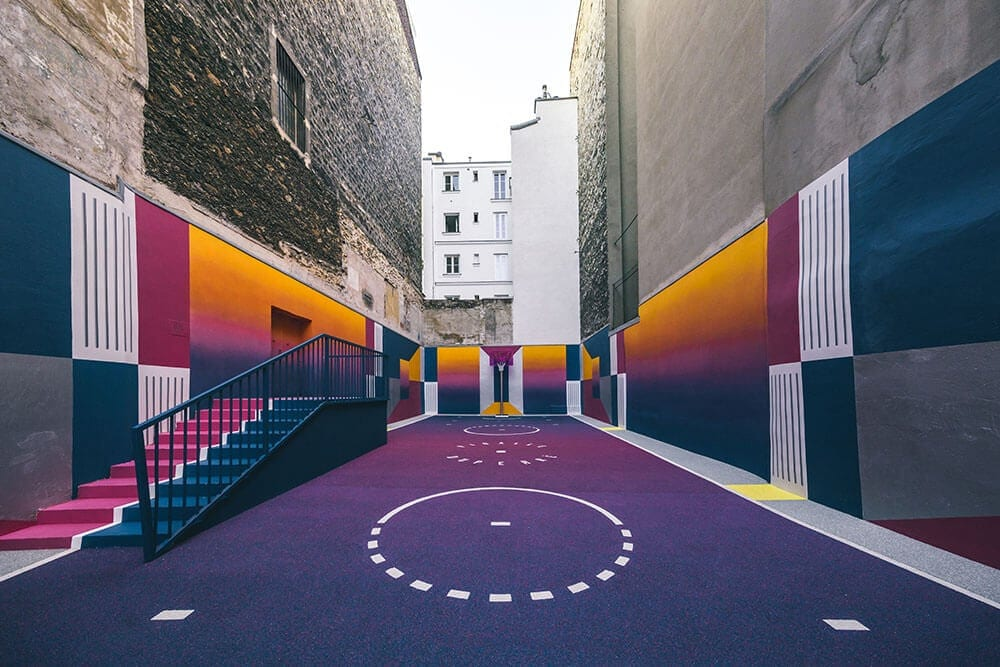 A Technicolor Basketball Court Appears in Paris -