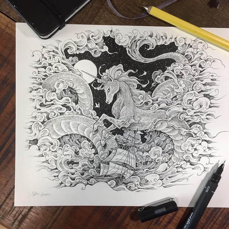 Kerby Rosanes' Inked Illustrations Blend Animals with Divine Patterns -
