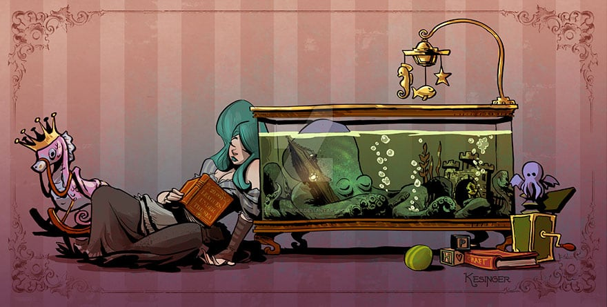 Artist Brian Kesinger Illustrates A Series of About Life With A Pet Octopus -