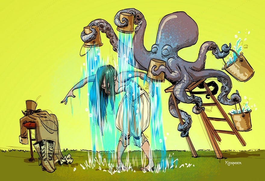 octopus otto and victoria steampunk illustrations walt disney brian kesinger fy 4 - Artist Brian Kesinger Illustrates A Series of About Life With A Pet Octopus