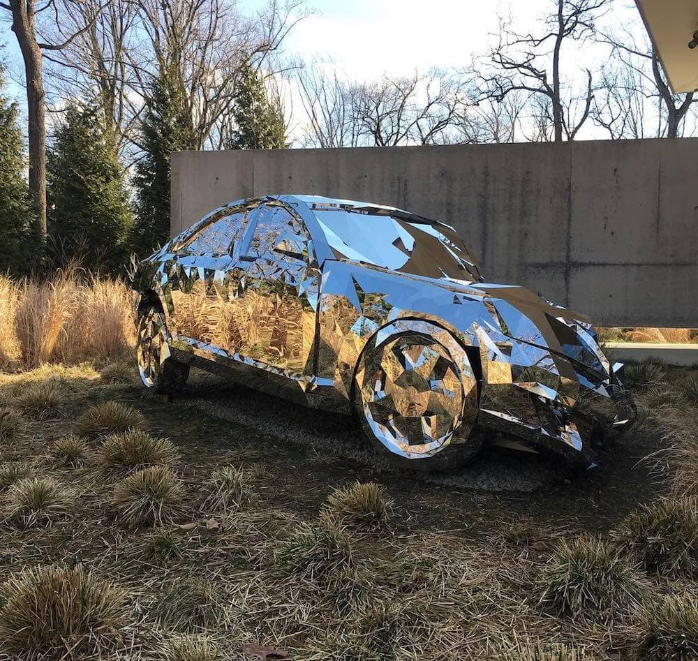 A Shattered Luxury Car Made From Over 12,000 Mirrors -