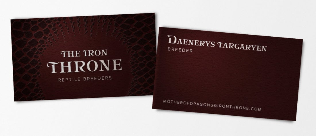 Daenerys Targaryen GOT 1100x475 - Real Life Business Cards Of Your Favorite Pop Culture Characters